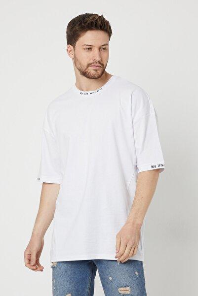 BREEZY Beyaz Unisex Oversize Pamuklu Yazı Baskılı Tshirt My Life My Rules