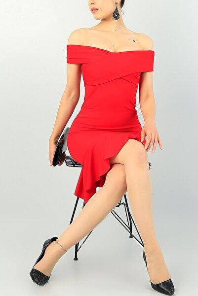 bayansepeti Slim Fit Kesim Krep Kumaş Çapraz Yaka Midi Boy Kırmızı Abiye Elbise