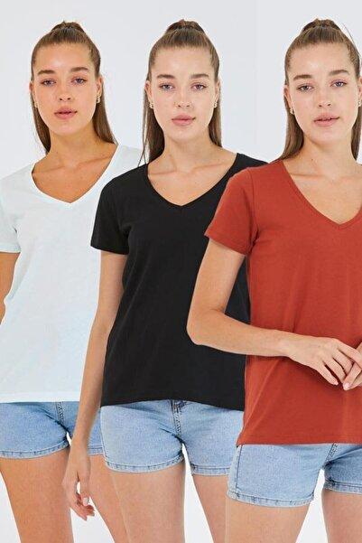 istare Kadın %100 Pamuk V Yaka 3lü T-shirt Paketi Su Yeşili