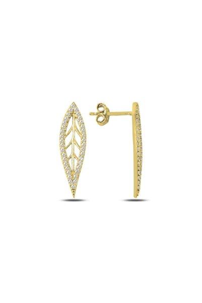 Silverella Gümüş 925 Ayar Zirkon Taşlı Yaprak Küpe