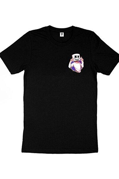 Fortnite Marshmello Baskılı Siyah Gamer Tişört