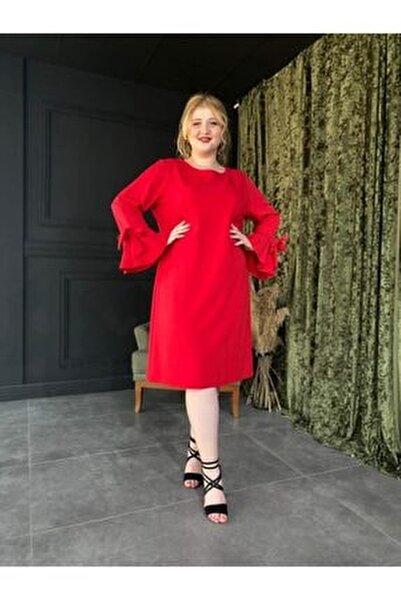 Kadın Kırmızı Büyük Beden Elbise Side - 3765