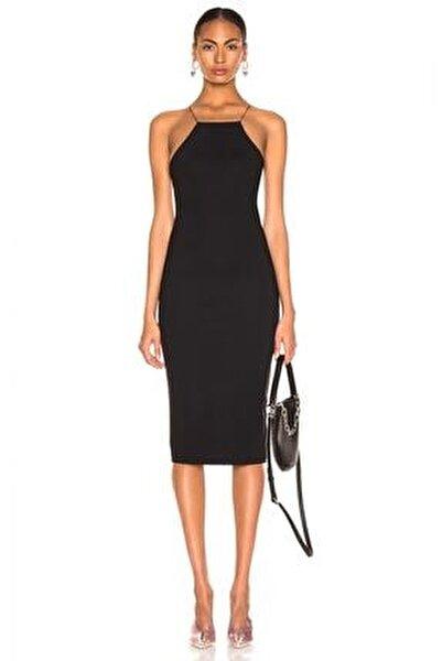 Kadın Siyah İnce Lastikli Çapraz Sırt Dekolteli Elbise 4555149