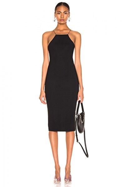 By Umut Design Kadın Siyah İnce Lastikli Çapraz Sırt Dekolteli Elbise 4555149