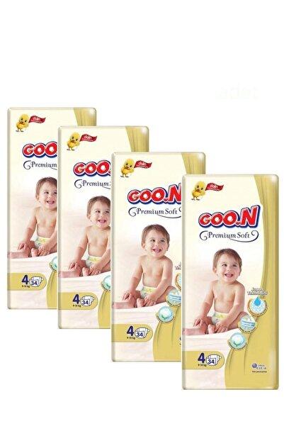 Goo.n Goon Premium Soft Bebek Bezi 4 Beden 34 Adet 4 Paket
