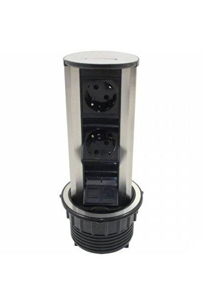 AMP CONNECT Amp 6 Modül Pop Up Silindir Masa Üstü Priz Kasası
