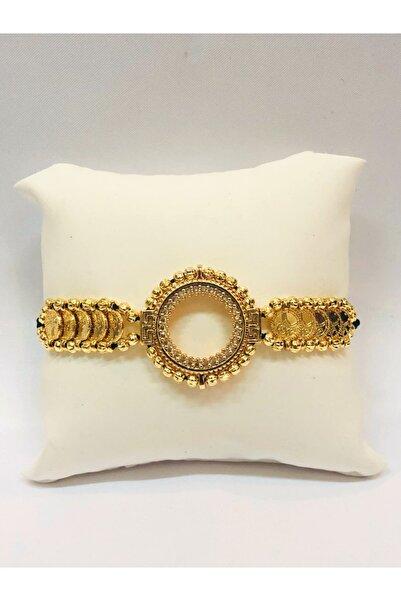 ADAGOLD Gold Renk Dorika Çerçeveli Çeyrekli Bileklik