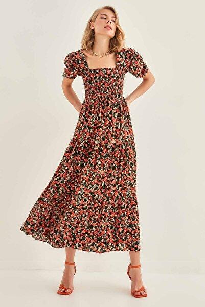 Vitrin Çiçek Desenli Kare Yaka Elbise