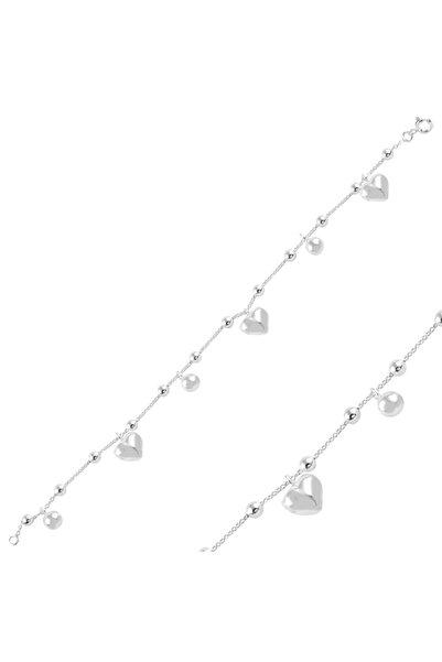 Silverella Gümüş 925 Ayar Sallantılı Kalp & Top Taşsız Bileklik