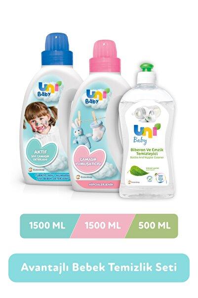 Uni Baby Avantajlı Temizlik Seti - 1500 ml Deterjan + 1500 ml Yumuşatıcı + 500 ml Biberon Emzik Temizleyici