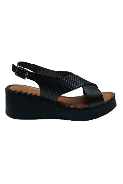 Venüs 21983207 Siyah Deri Casual Kadın Sandalet