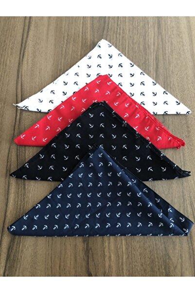 BANDANA MARKETİ Unisex 4 Adet Çapa Desenli Bandana Beyaz-Kırmızı-Siyah-Lacivert