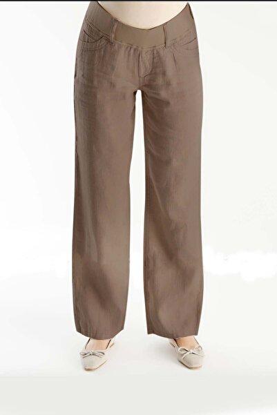 Gaiamom Kadın Kahverengi Keten Hamile Pantolon