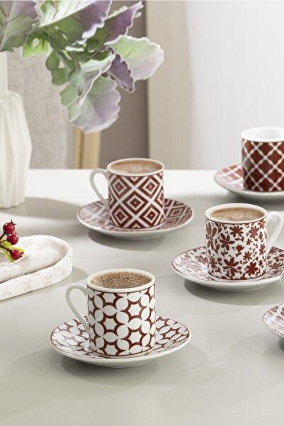English Home Mira Porselen 6'lı Kahve Fincan Takımı 80 Ml Bordo