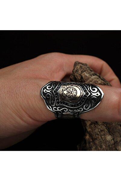 Sima Silver Gümüş Ayyıldız Bayrak Model Zihgir Okçu Erkek Yüzük Takı