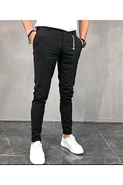 Dark Lavish Erkek Siyah Italyan Kesim Slim Fit Kumaş Pantolon