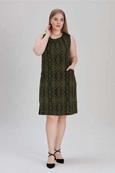 For Big Trend Kadın Desenli Kolsuz Cepli Örme Esnek Elbise