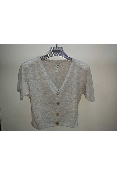 KSV Collection Keten Göbek Üstü Düğmeli T-shirt