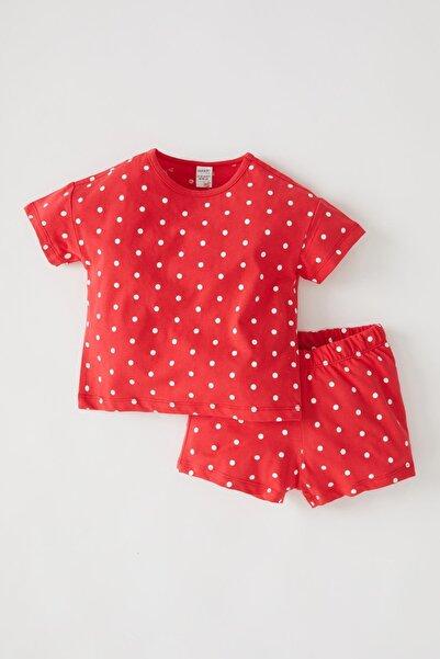 DeFacto Kırmızı Kız Bebek Puantiyeli Kısa Kollu Pamuklu Pijama Takımı V6584A221HS