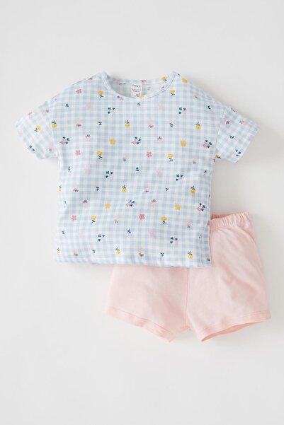 DeFacto Pembe Kız Bebek Çiçekli Kısa Kollu Pamuklu Pijama Takımı V6585A221HS