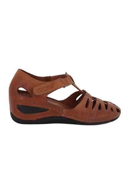 Venüs 21794002 Hakiki Deri Dolgu Topuklu Kadın Sandalet Taba