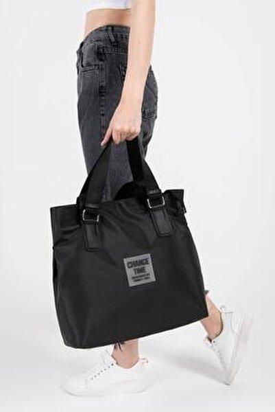 Kadın Siyah Çıtçıt Detaylı Büyük Çanta Ç3215 - D13 ADX-0000022923