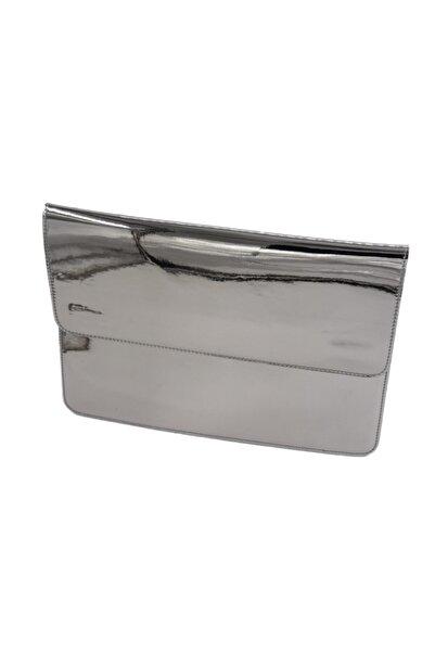 ANGEL SHAPE Platin Hologram Dış Yüzey Lacivert Süet İç Yüzey 2 Gözlü 13.3 Inch Macbook Taşıma Çantası