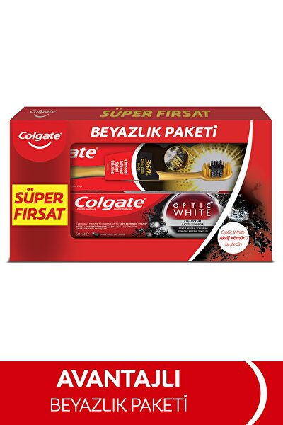 Colgate Optic White Aktif Kömür Beyazlatıcı Diş Macunu 50 ml + Colgate 360 Gold Yumuşak Diş Fırçası