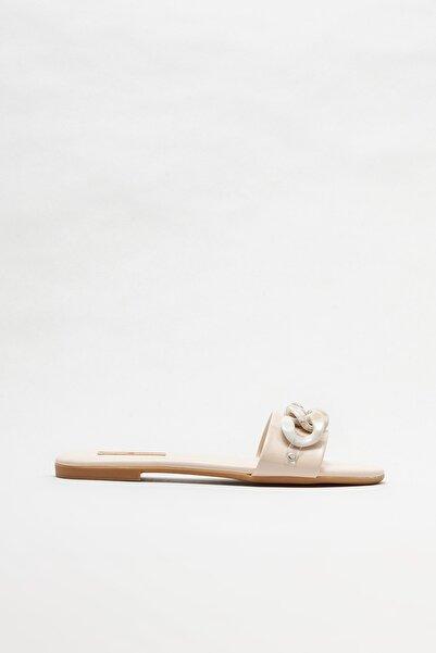 Elle Shoes Ekru Kadın Düz Terlik