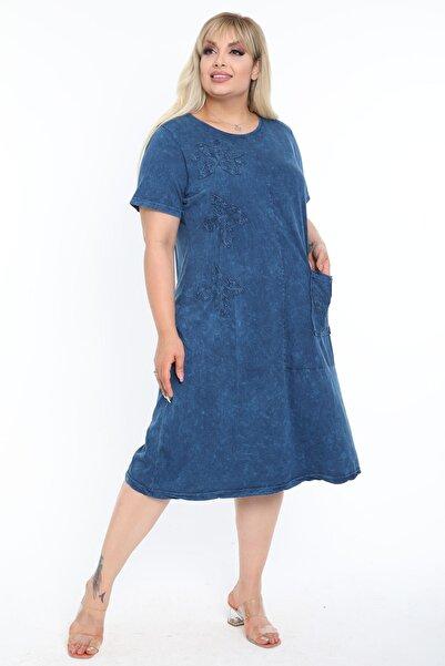 Mooi XXL Kadın Yıkamalı Indigo Mavi Aplikeli Büyük Beden Elbise