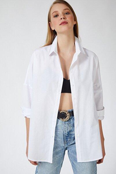 candybia Kadın Beyaz Oversize Uzun Basic Gömlek