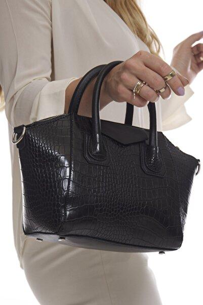 Fume London Siyah Kroko Kadın Omuz Ve El Çantası Fb3151