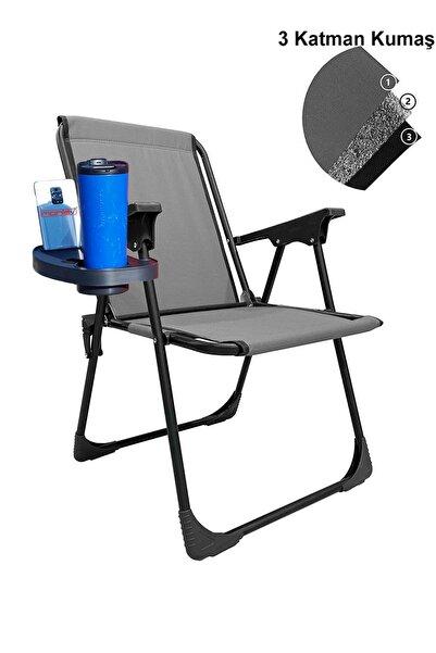 moniev Katlanır Kamp Piknik Sandalyesi Plaj Koltuğu Katlanır Şezlong Ve Oval Bardaklık Gri