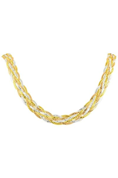 Silverella Gümüş 925 Ayar 3 Renk 8 Sıralı Örgü Zincir Kolye