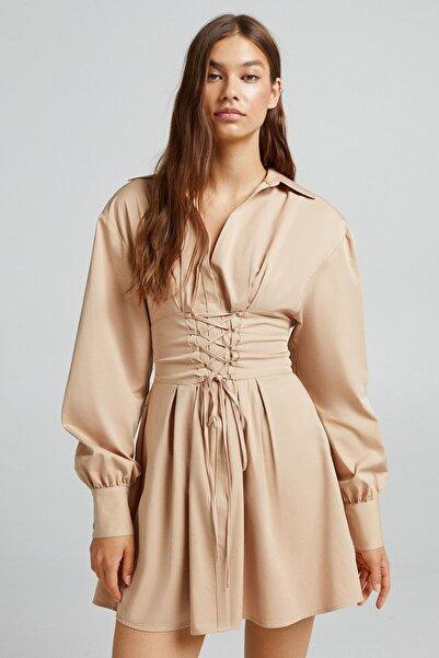 Bershka Bağcık Detaylı Poplin Gömlek Elbise
