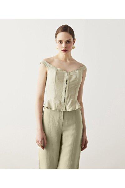 İpekyol Korse Görünümlü Keten Bluz