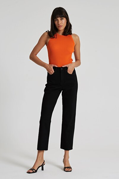 CROSS JEANS Elıza Cropped Siyah Paçası Kesikli Straight Cropped Fit Jean Pantolon
