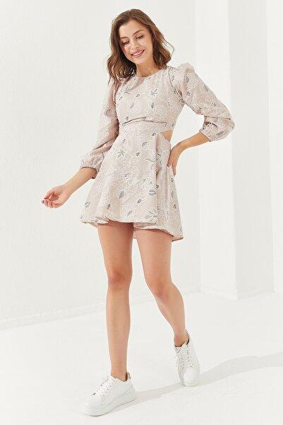 Reyon Kadın Sırt Dekolteli Astarlı Mini Elbise Taş