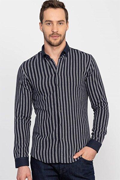Tudors Slim Fit Kışlık Çizgili Erkek Gömlek