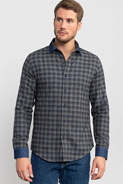 Tudors Slim Fit Kareli Unisex Kışlık Gömlek