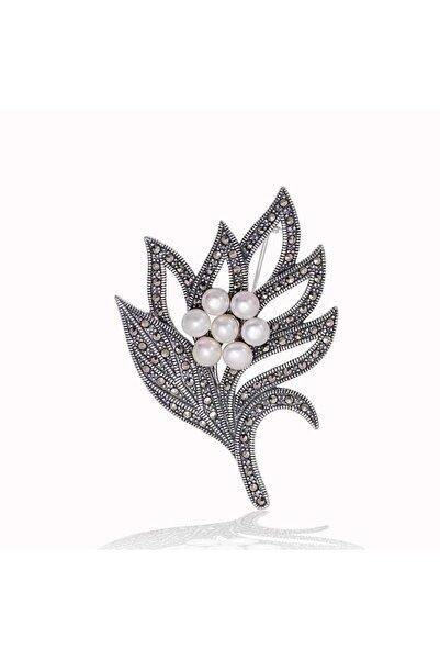Gumush Gümüş Markazit Taşlı Yaprak Inci Broş