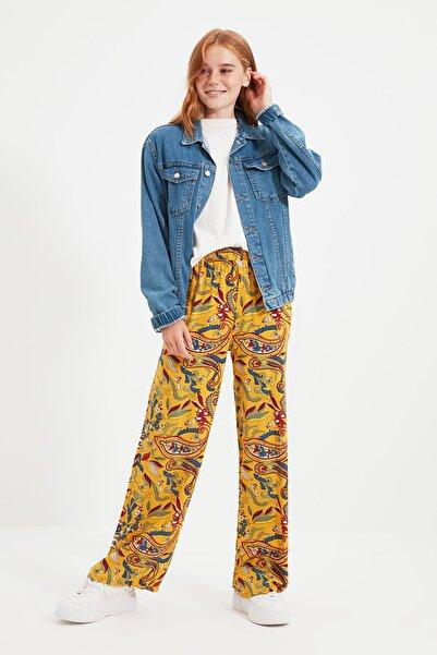 Trendyol Modest Sarı Desenli Beli Lastikli Tesettür Pantolon TCTSS21TP0016