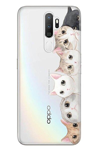 Oppo A5 A9 2020 Pure Modern Desenli Silikon Kılıf Pisi Pisi Kedi