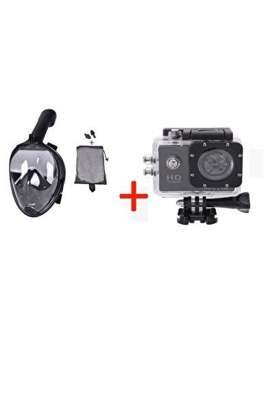 AteşTech Full Face Dalış Maskesi Şnorkel + 1080p Su Altı Aksiyon Kamerası