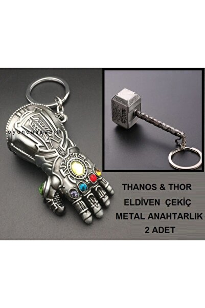 HEPBİMODA Thor Çekiç Thanos Eldiven 2 Anahtarlık Metal Yumruk Çekic