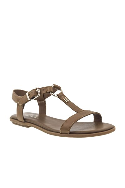 Tommy Hilfiger Elevated Leather Flat Kadın Sandalet