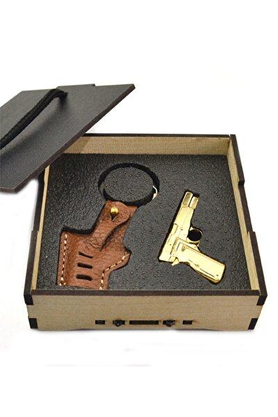 anahtarlıksepeti 14 Lü Tabanca Deri Kılıflı Anahtarlık Ahşap Kutulu (gold Görünümlü)