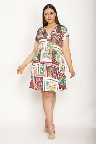 Şans Kadın Renkli Çiçek Desenli Anvelop Yakalı Elbise