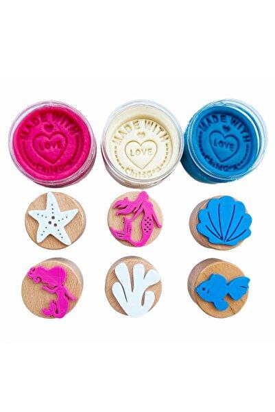 ChildGen Play Dough Doğal Oyun Hamurları Deniz Kızı Ahşap Damgalı Set