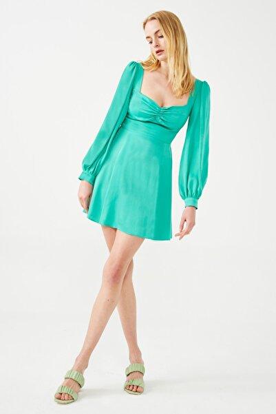 Muun Karen Yeşil Mini Elbise
